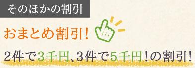おまとめ割引!2件で3千円、3件で5千円!の割引!